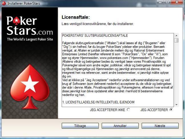 Accept af PokerStars Licensaftale