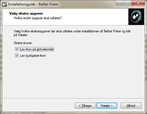 Valg af Betfair Poker genveje