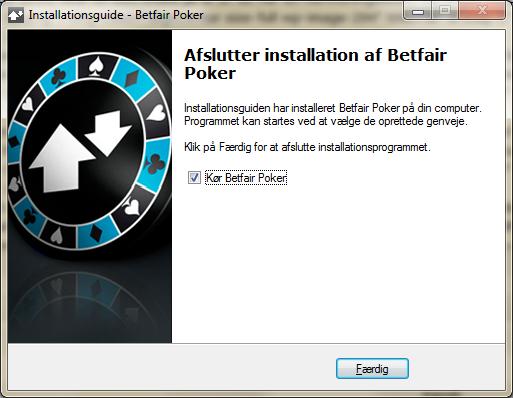 Installationen af Betfair Poker er færdig