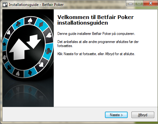 Påbegynd installation af Betfair Poker software