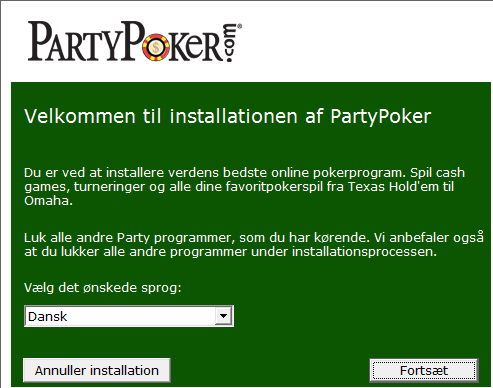 Installation af Party Poker