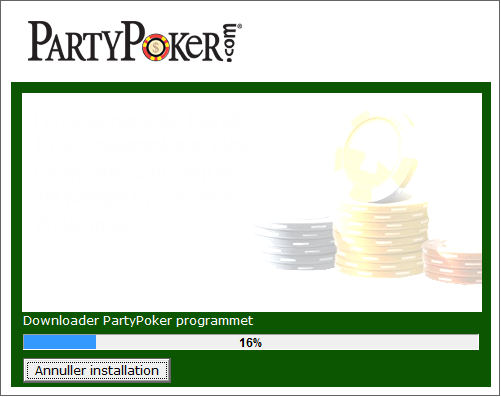 Installerer Party Poker Software
